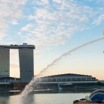 Singapore center with Merlion and skyscrapers at early morning_shutterstock_163183157