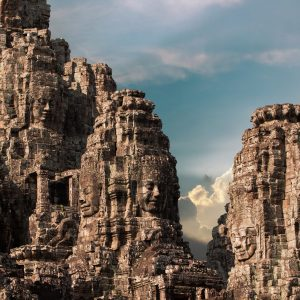 ancient of Prasat Bayon temple, Angkor Thom , is popular tourist attraction in Siem reap, Cambodia_shutterstock_418106758_Compress