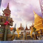 Travel concept, Giant statue at Temple Wat Pra Kaew, Grand Palace, Bangkok Thailand_shutterstock_465719270