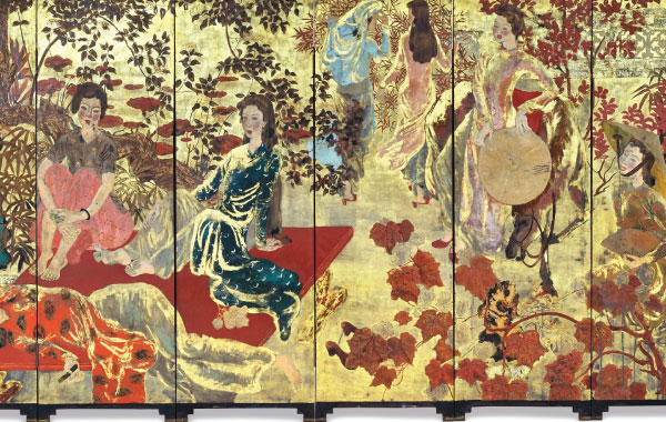 A Vietnamese Lacquer Painting on wooden panels.